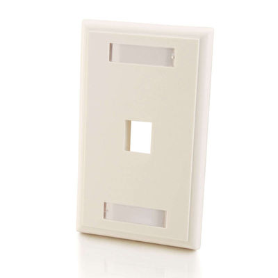 C2G 3410 1-Port Single Gang Multimedia Keystone Wall Plate - White