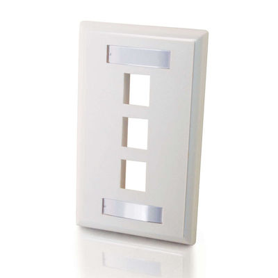 3-Port Single Gang Multimedia Keystone Wall Plate - White