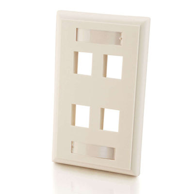 C2G 3413 4-Port Single Gang Multimedia Keystone Wall Plate - White