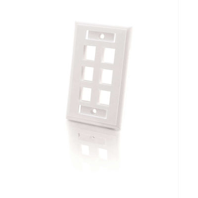 C2G 3414 6-Port Single Gang Multimedia Keystone Wall Plate - White