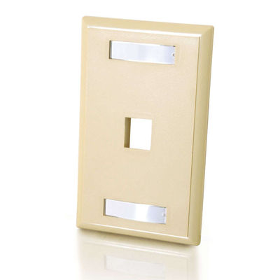 C2G 3710 1-Port Single Gang Multimedia Keystone Wall Plate - Ivory
