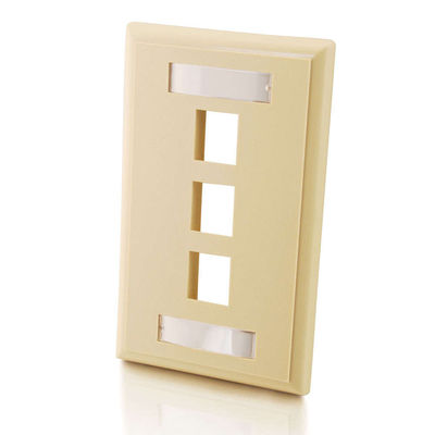 C2G 3712 3-Port Single Gang Multimedia Keystone Wall Plate - Ivory