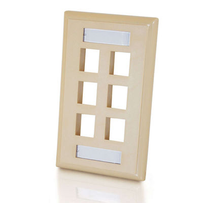 C2G 3714 6-Port Single Gang Multimedia Keystone Wall Plate - Ivory
