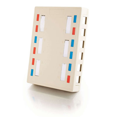 C2G 3849 12-Port Keystone Jack Surface Mount Box - White