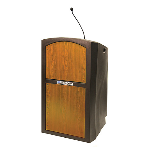 AmpliVox Sound Systems Pinnacle Multimedia Lectern with Mic (Medium Oak)
