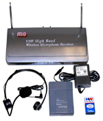 Wireless VHF Lapel & Headset Mic Kit with single operating frequency.