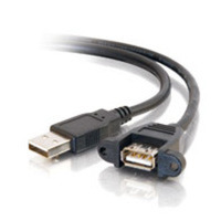 C2G 28062 1.5ft Panel-Mount USB 2.0 A Male to A Female Cable