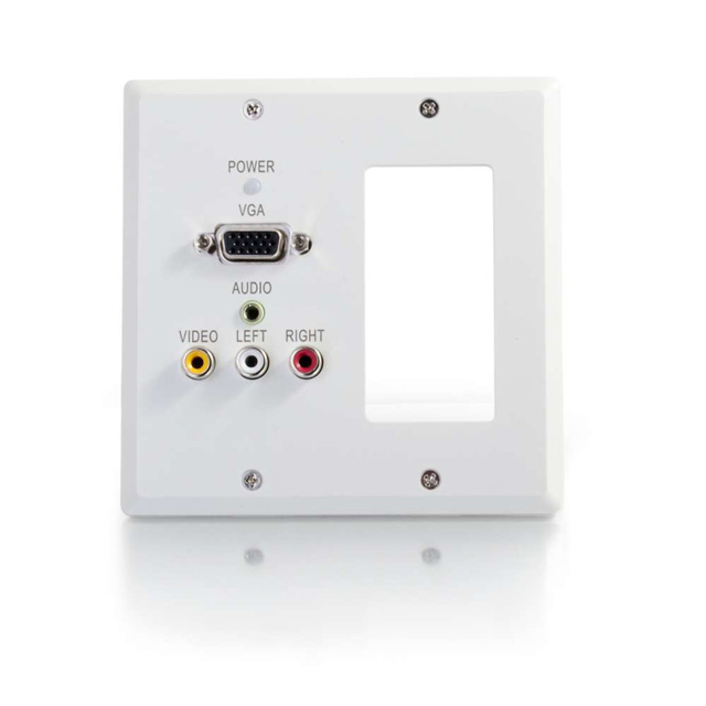 Dual Gang VGA+3.5mm Audio+Composite+Audio over Cat5 Wall Plate Receiver with 1 Decora Compatible Cutout, White