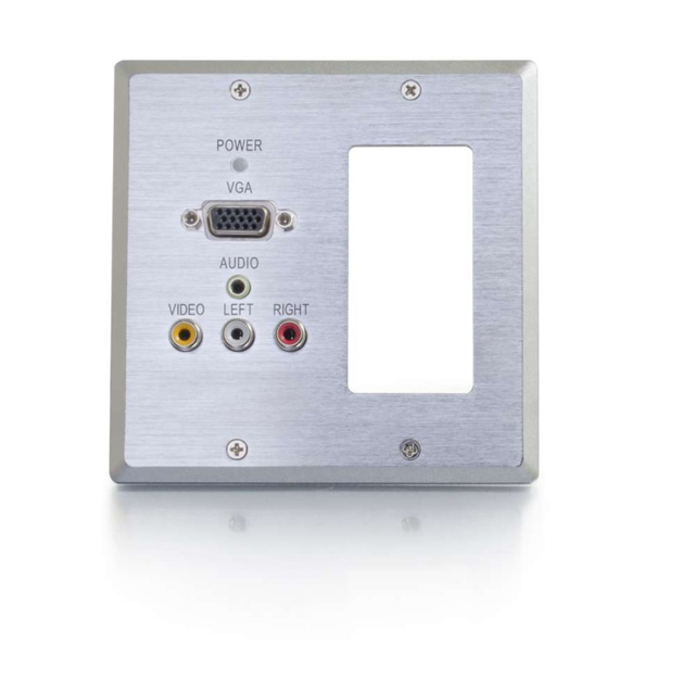 Dual Gang VGA+3.5mm Audio+Composite+Audio over Cat5 Wall Plate Receiver with 1 Decora Compatible Cutout, Aluminum