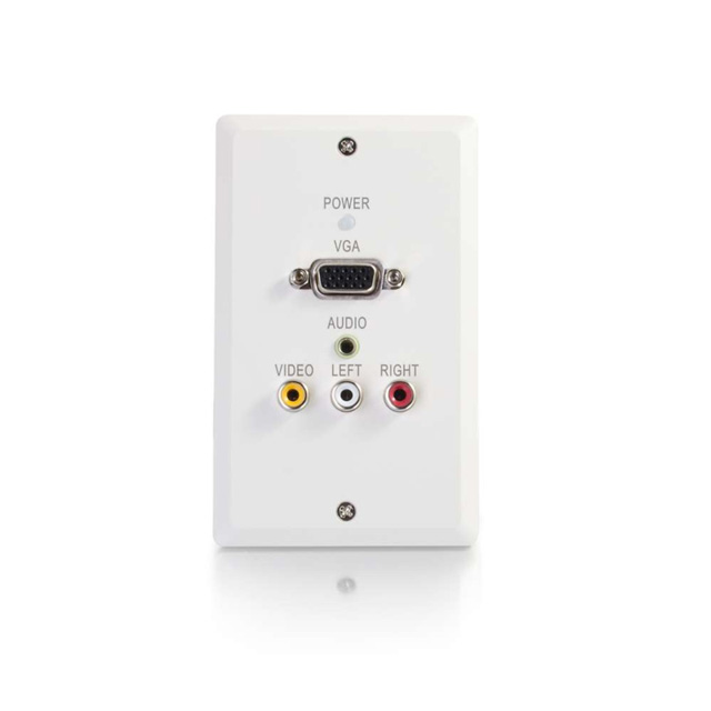 Single Gang VGA+3.5mm Audio+Composite+Audio over Cat5 Wall Plate Transmitter, White