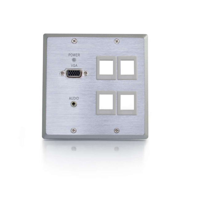 Dual Gang VGA+3.5mm Audio over Cat5 Wall Plate Transmitter with 4 Keystones, Aluminum