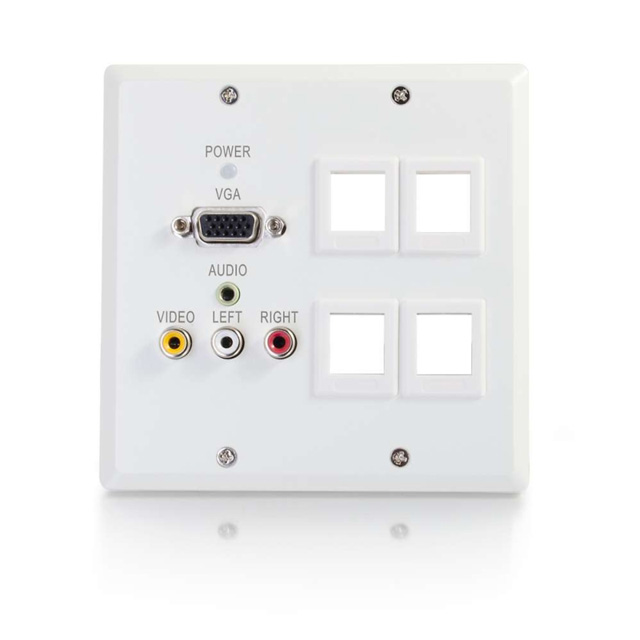 Dual Gang VGA+3.5mm Audio+Composite+Audio over Cat5 Wall Plate Transmitter with 4 Keystones, White