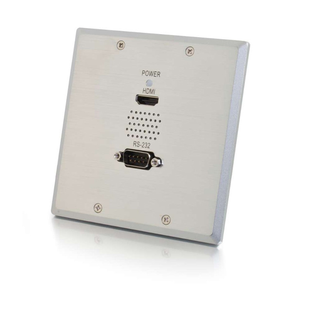 TruLink® Double Gang HDMI®+Serial RS232 over Cat5 Wall Plate Receiver - Aluminum