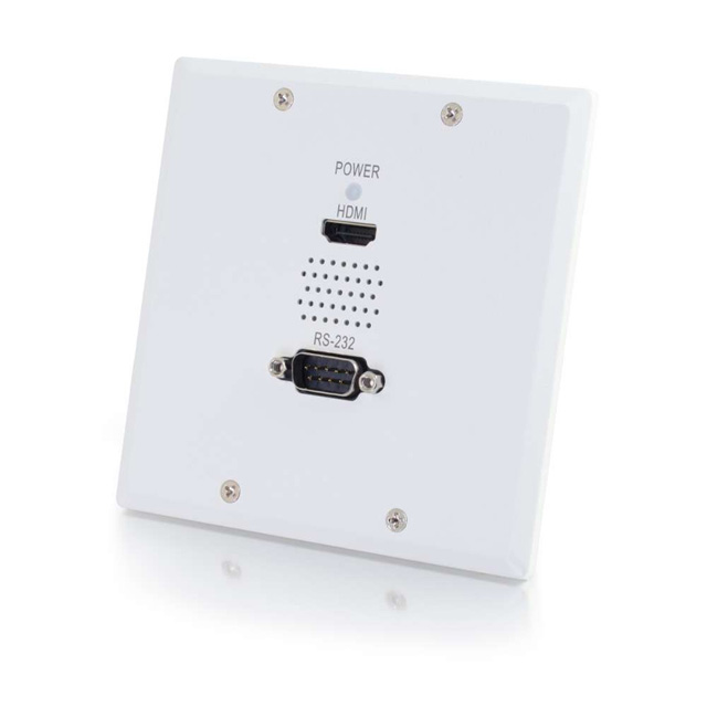 TruLink® Double Gang HDMI®+Serial RS232 over Cat5 Wall Plate Receiver - White