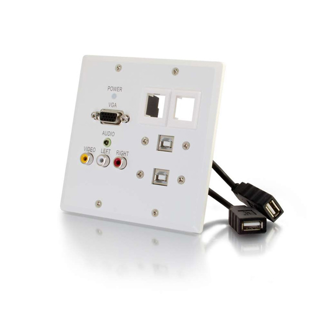 TruLink® Double Gang VGA+3.5mm Audio+Composite+Audio over Cat5 Wall Plate Receiver with 2 Keystones + 2 USB Pass-Through Ports - White