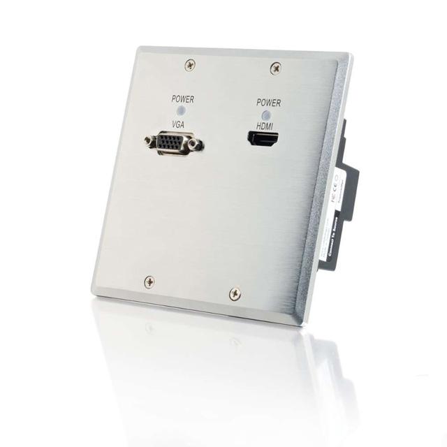 C2G 29296 TruLink 1-Gang HDMI+VGA over Cat5 Wall Plate - Aluminum