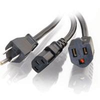 1.5ft 16 AWG 1-2 Power Cord Splitter (NEMA 5-15P to 1 NEMA 5-15 +1 IEC320C13)
