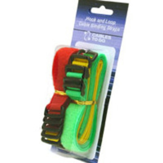 C2G 29856 11in Hook-and-Loop Cable Mgmt Straps - Bright Multi-Color - 12pk