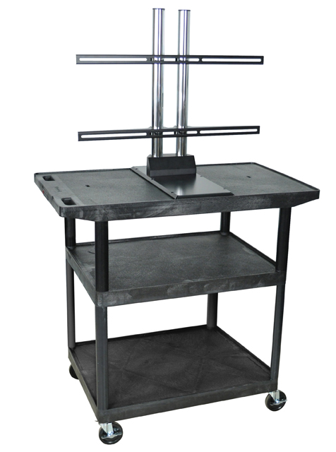 Luxor LE40WTUD-B Black 3 Shelf w/ Wide Top A/V Cart w/ LCD Mount
