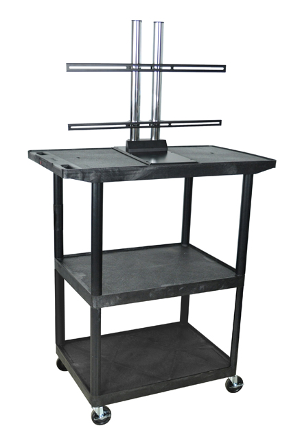 Luxor LE48WTUD-B Black 3 Shelf w/ Wide Top Shelf A/V Cart w/ LCD Mount