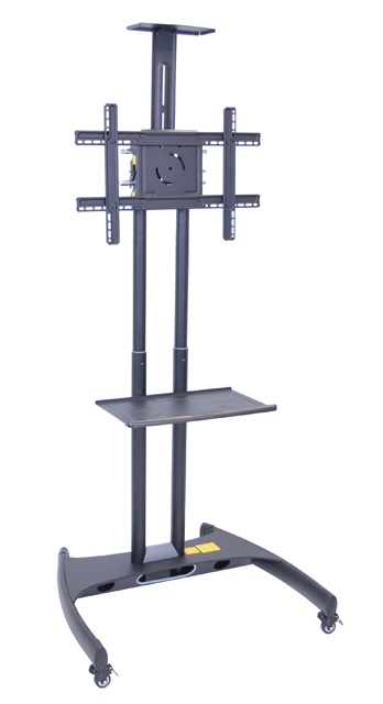 Luxor Adjustable Height Flat Panel Cart w/ Accessory Shelf & Camera Mount