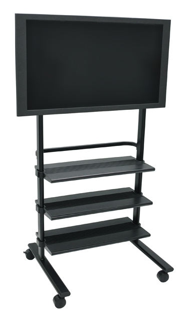 Luxor WFP100-B Black Universal LCD Flat Panel Stand with 3 Shelves