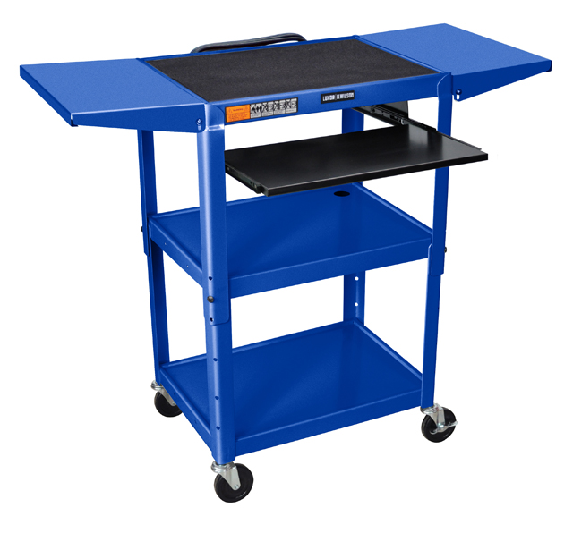 Luxor Adjustable Height Blue Metal A/V Cart w/ Keyboard Tray & 2 Shelves