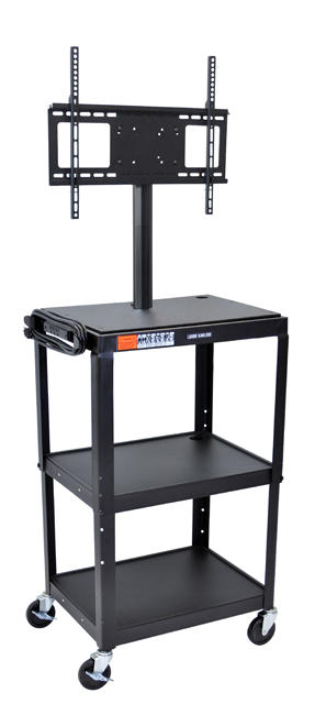 Luxor AVJ42-LCD Adjustable Height Black Metal Cart with Flat Panel Mount