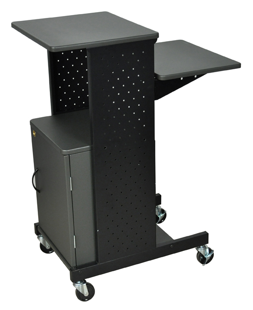 Luxor PS4000C Gray 4 Shelf Mobile Presentation Station w/ Cabinet