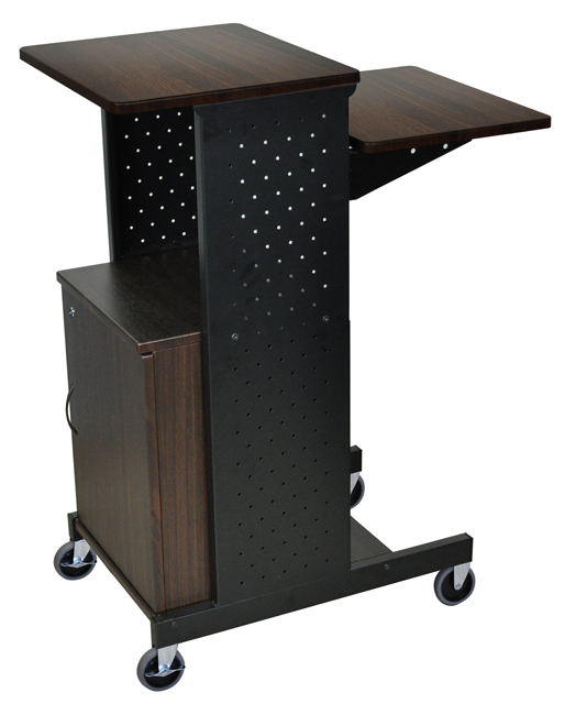 Luxor PS4000C-W Walnut 4 Shelf Mobile Presentation Station W/ Cabinet