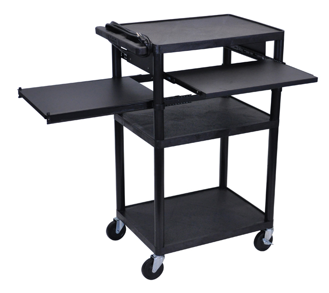 Luxor LP42LPE-B Black Endura 3 Shelf Presentation Cart w/ 2 Pull Out Shelves