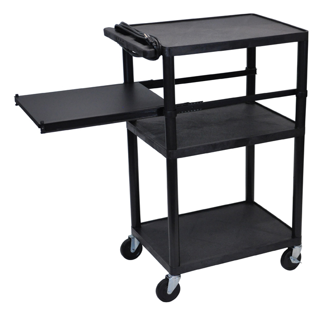 Luxor LP42PE-B Black Endura 3 Shelf Presentation Cart with Pull Out Shelf