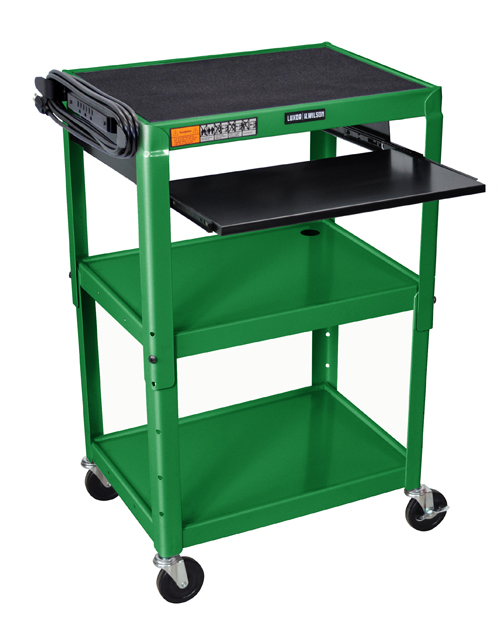Luxor Adjustable Height Green Metal A/V Cart w/ Pullout Keyboard Tray