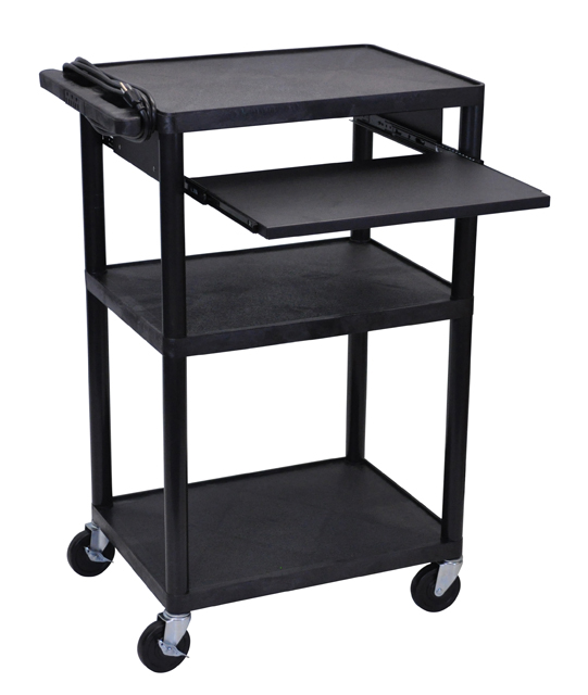 Luxor LP42LE-B Black Endura 3 Shelf Presentation Cart with Pull Out Shelf