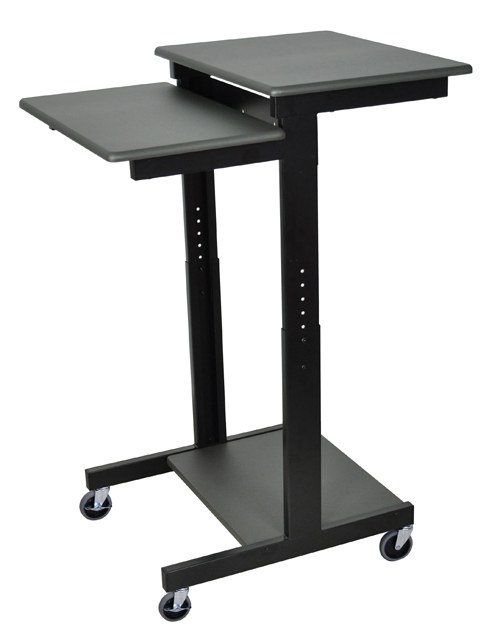 Luxor PS3945 Gray 3 Shelf Adjustable Height Computer Workstation
