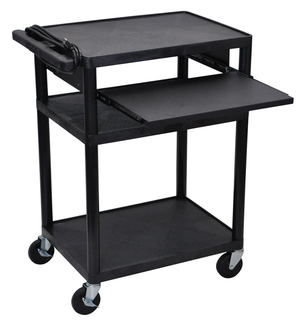 Luxor Endura Black 3 Shelf Presentation Cart 35-1/4in. High w/ Pull Out Shelf