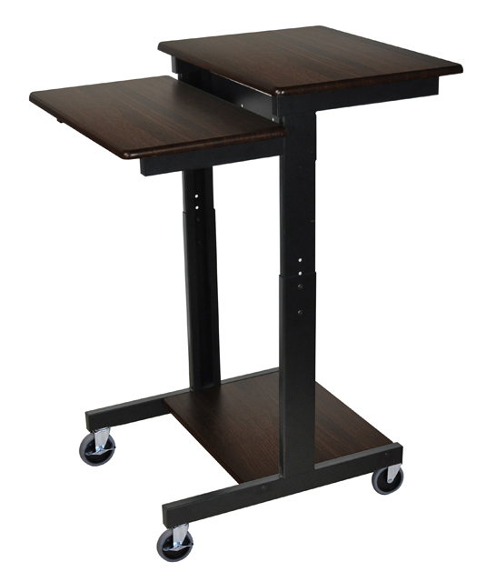 Luxor PS3945-W Walnut 3 Shelf Adjustable Height Computer Workstation