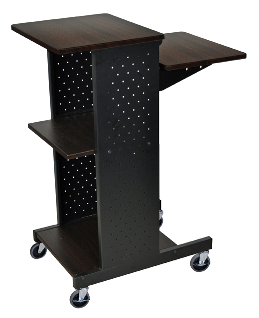Luxor PS4000-W Walnut 4 Shelf Mobile Presentation Station