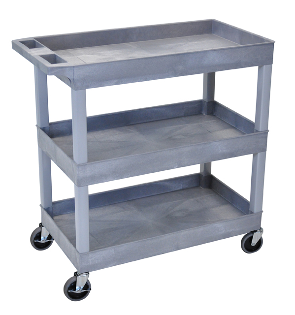 Luxor EC111-G High Capacity 3 Tub Shelves Cart in Gray