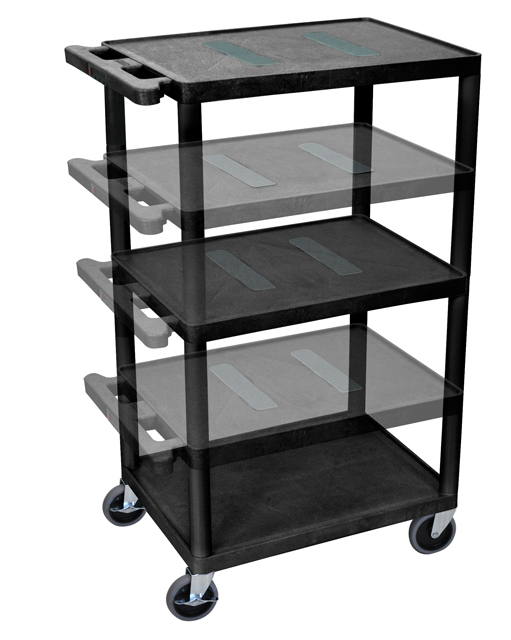 Luxor LEDUO-B Black Endura Multi-Height 3 Shelf A/V Cart