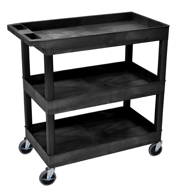 Luxor EC111-B High Capacity 3 Tub Shelves Cart in Black