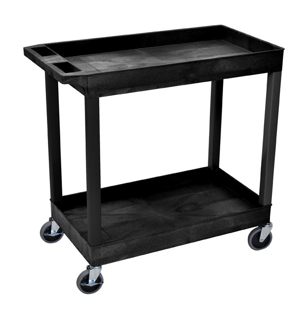 Luxor EC11-B High Capacity 2 Tub Shelves Cart in Black