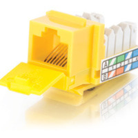 90anddeg; Cat5E RJ45 UTP Keystone Jack - Yellow