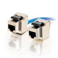 90anddeg; Cat6 RJ45 UTP Shielded Keystone Jack - Silver