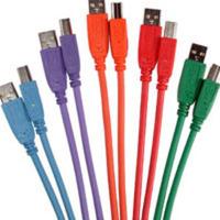 C2G 35679 2m USB 2.0 A/B Cables - 5 Colors - 5pk