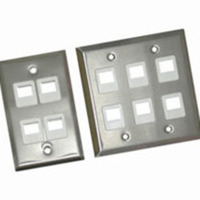C2G 37098 6-Port 1-Gang Multimedia Keystone Wall Plate - Stainless Steel