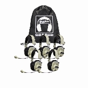 Sack-O-Phones, 5 HA-66USBSM Deluxe USB Headphones w/ Mic  in a carry bag