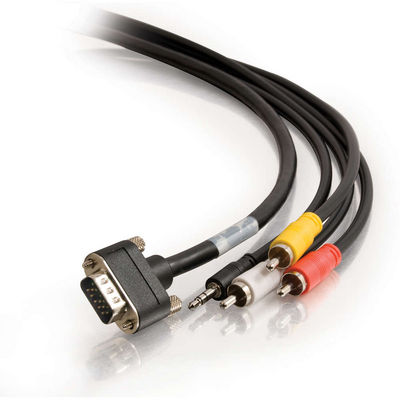 12ft CMG-Rated HD15 SXGA + Composite Video + Stereo Audio + 3.5mm M/M Cable with Rounded Low Profile Connectors