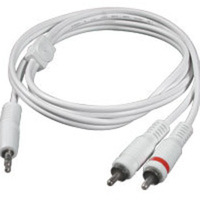 C2G 40369 3ft 1- 3.5mm Stereo to 2- RCA Stereo M-M Audio Y-Cable (White)