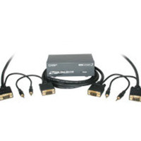 2-Port UXGA Monitor Splitter/Extender with 3.5mm Audio Plus (2) 50ft HD15 UXGA with 3.5mm Audio Monitor Cables